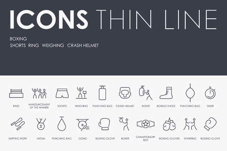 Boxing Thin Line Icons