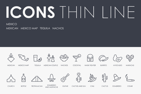 Set of MEXICO Thin Line Vector Icons and Pictograms