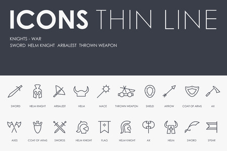 KNIGHT-WARS Thin Line Icons