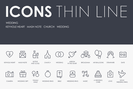 WEDDING Thin Line Icons vector illustration design Illustration