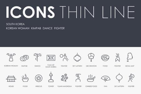 SOUTH KOREA Thin Line Icons 일러스트