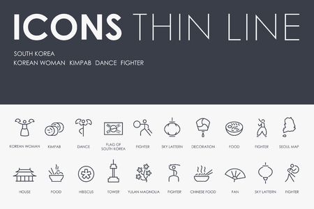 SOUTH KOREA Thin Line Icons Vectores