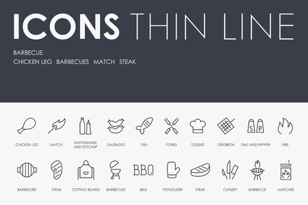 BARBECUE Thin Line Icons vector illustration design Stock Vector - 95847047