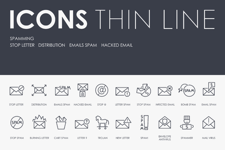 SPAMMING Thin Line Icons Stock fotó - 95709606