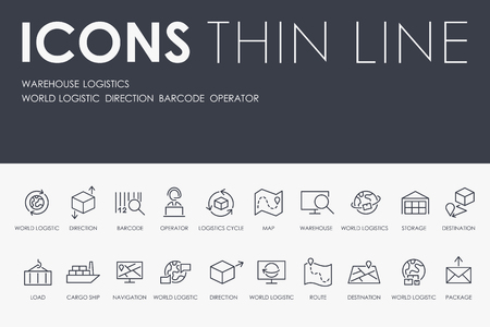 WAREHOUSE LOGISTIC Thin Line Icons