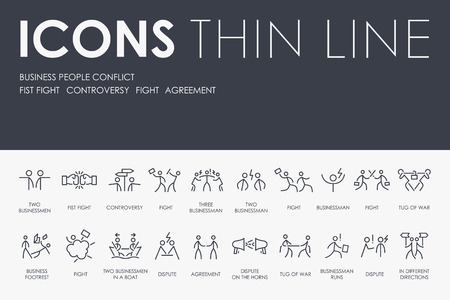 BUSINESS PEOPLE CONFLICT Thin Line Icons Vettoriali
