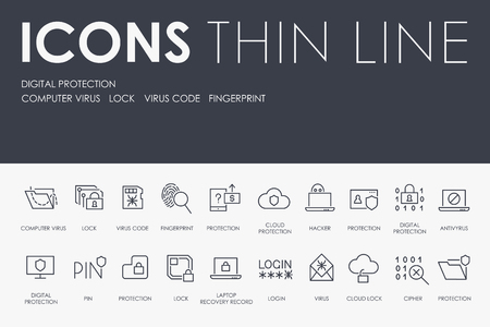 DIGITAL PROTECTION Thin Line Icons