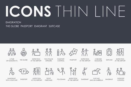 EMIGRATION Thin Line Icons vector illustration design Stock Illustratie