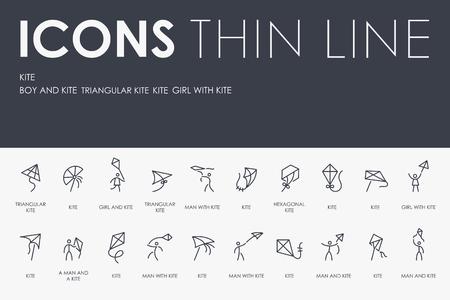 KITE Thin Line Icons  イラスト・ベクター素材