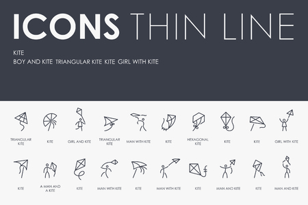 KITE Thin Line Icons Vectores
