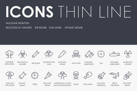 NUCLEAR WEAPON Thin Line Icons
