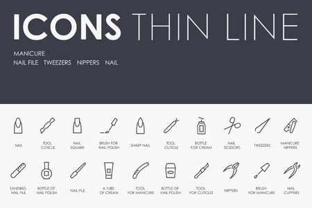 MANICURE Thin Line Icons
