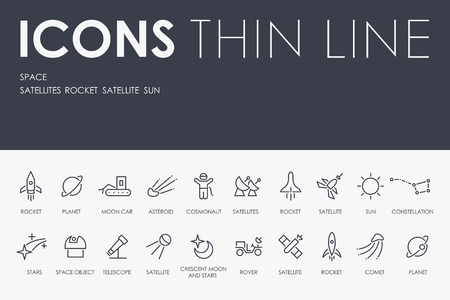 SPACE Thin Line Icons vector illustration design Illustration