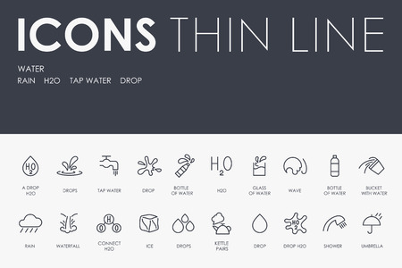 WATER Thin Line Icons