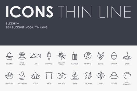 BUDDHISM Thin Line Icons vector illustration design Stock Illustratie