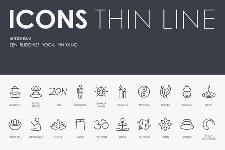 BUDDHISM Thin Line Icons vector illustration design Иллюстрация