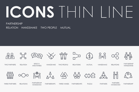 Set of PARTNERSHIP Thin Line Vector Icons and Pictograms Çizim