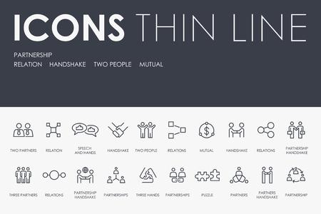 Zestaw ikon wektorowych cienka linia partnerstwa i piktogramy