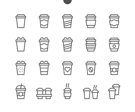 Coffee To Go Food UI Pixel Perfect Goed gemaakt Vector Dunne lijnpictogrammen 48x48 Klaar voor 24x24 raster voor webafbeeldingen en apps met bewerkbare lijn. Eenvoudig minimaal pictogram deel 1-1 Stockfoto - 96207189