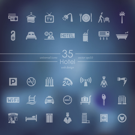 Hotel modern icons for mobile interface on blurred background. Çizim
