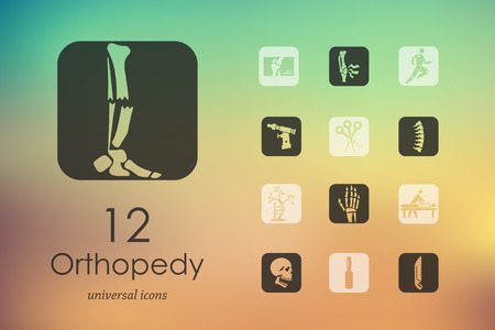 Orthopedics modern icons for mobile interface on blurred background. Stock Illustratie