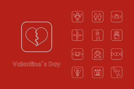 It is a set of Valentines Day simple web icons. Illustration