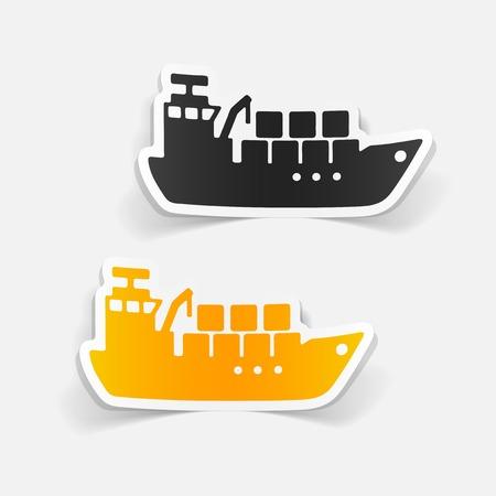Set of cargo ship sticker style, silhouette illustration.