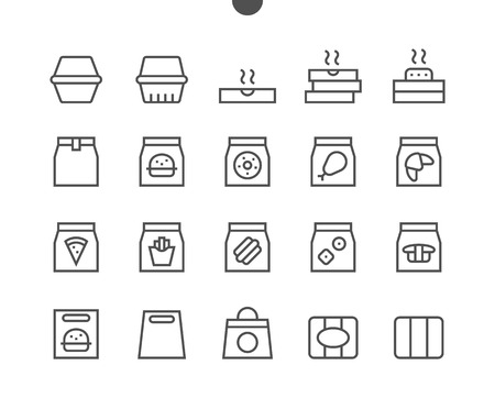 Take Out fast food like burger, pizza and fries UI Pixel Perfect Well-crafted Vector Thin Line Icons 48x48 Ready for 24x24 Grid for Web Graphics and Apps with Editable Stroke. Simple Minimal Pictogram Illustration