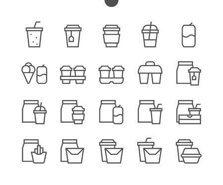 Take Out fast food like burger, pizza and fries UI Pixel Perfect Well-crafted Vector Thin Line Icons 48x48 Ready for 24x24 Grid for Web Graphics and Apps with Editable Stroke. Simple Minimal Pictogram  イラスト・ベクター素材