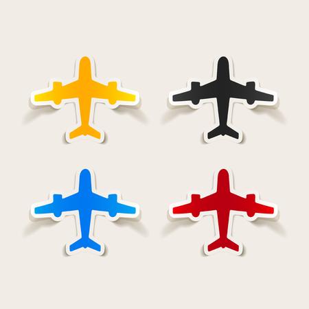 Colorful realistic design element plane