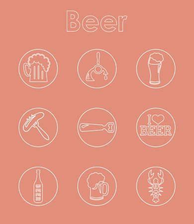 Set of beer simple icons Illustration