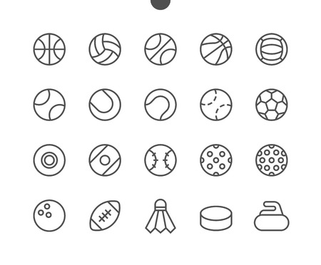 Sport Balls UI Pixel Perfect Well-crafted Vector Thin Line Icons. Illustration