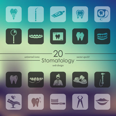 stomatology modern icons for mobile interface on blurred background Stock Illustratie