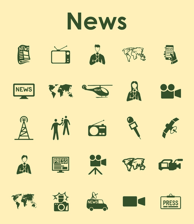 Set of news simple web icons