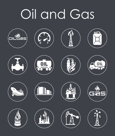 Set of oil and gas simple web icons Illusztráció