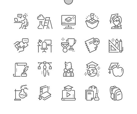 Onderwijs Goed gemaakt Pixel Perfect Vector dunne lijn pictogrammen 30 2x raster voor webafbeeldingen en apps. Eenvoudig minimaal pictogram