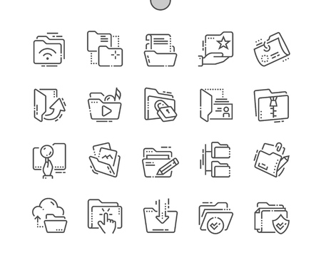 Folders Well-crafted Pixel Perfect Vector Thin Line Icons 30 2x Grid for Web Graphics and Apps. Simple Minimal Pictogram