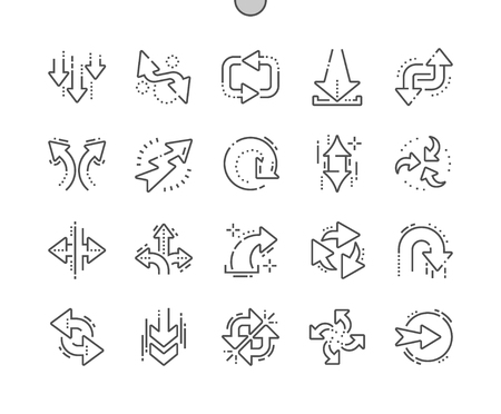 Arrows Well-crafted Pixel Perfect Vector Thin Line Icons 30 2x Grid for Web Graphics and Apps. Simple Minimal Pictogram