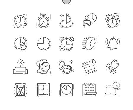 時間よく細工されたピクセルパーフェクトベクター細線アイコン30 2xグリッドWebグラフィックスとアプリ。シンプルなミニマルピクトグラム