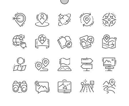 Navigation Well-crafted Pixel Perfect Vector Thin Line Icons 30 2x Grid for Web Graphics and Apps. Simple Minimal Pictogram Illustration