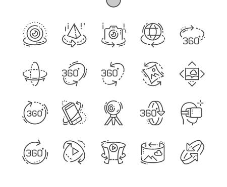 Griglia dell'icona a 360 ° di pixel perfetti di pixel perfetti per linee sottili per grafica Web e app. Pittogramma minimale semplice