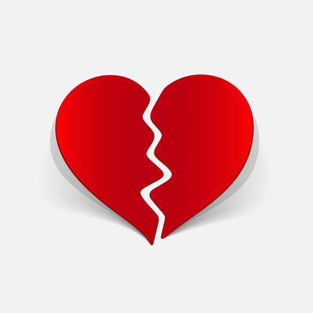 Realistic design element broken heart 向量圖像