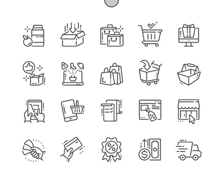 Shopping Well-crafted Pixel Perfect Vector Thin Line Icons 30 2x Grid for Web Graphics and Apps. Simple Minimal Pictogram