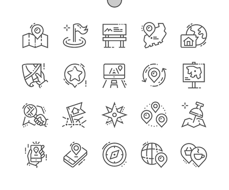 Location Well-crafted Pixel Perfect Vector Thin Line Icons 30 2x Grid for Web Graphics and Apps. Simple Minimal Pictogram Illustration