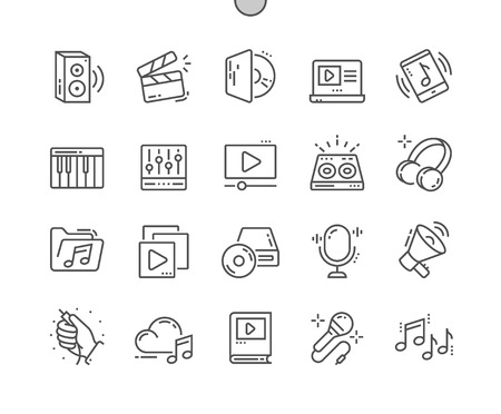 Audio Video Well-crafted Pixel Perfect Vector Thin Line Icons Grid for Web Graphics and Apps. Simple Minimal Pictogram Stock Illustratie