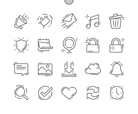 General Well-crafted Pixel Perfect Vector Thin Line Icons grid for Web Graphics and Apps. Simple Minimal Pictogram