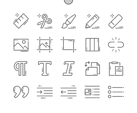 Edit Text Well-crafted Pixel Perfect Vector Thin Line Icons grid for Web Graphics and Apps. Simple Minimal Pictogram