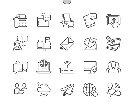 Communication Well-crafted Pixel Perfect Vector Thin Line Icons grid for Web Graphics and Apps. Simple Minimal Pictogram