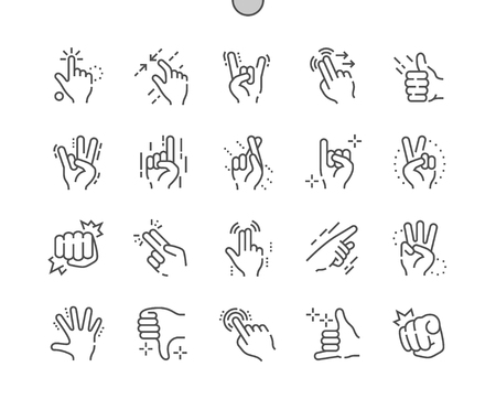 Gesture Well-crafted Pixel Perfect Vector Thin Line Icons grid for Web Graphics and Apps. Simple Minimal Pictogram