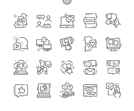 Chat Well-crafted Pixel Perfect Vector Thin Line Icons Grid for Web Graphics and Apps. Simple Minimal Pictogram Vectores